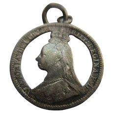 Queen Victorian Cut Out Silver Coin Charm