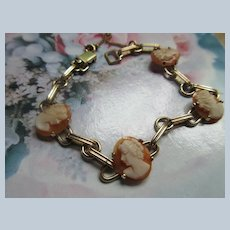 Vintage Dainty Carved Shell Cameo Bracelet in Gold Fill