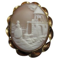 Victorian Carved Shell Scenic Cameo Gold Fill