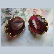 Vintage Faceted Red Glass Clip On Earrings Signed Dorlan