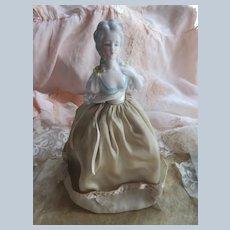 Vintage circa 1920 Porcelain Half Doll Standing on Hoop Skirt Frame - Possibly a Night Light Frame