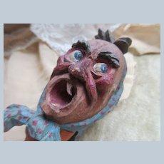 Older Vintage Austrian Carved Folk Art Head Cork Bottle Stopper Tooth Ache Stopper