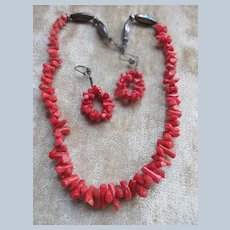 Vintage Sterling Coral Branch Necklace and Pierced Earrings