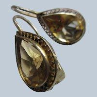 Vintage Sterling Silver Gilt Citrine Pierced Earrings