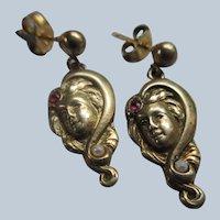 Vintage Art Nouveau Style Pierced Earrings Silver Gilt