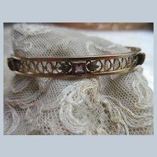 Older Vintage Gold Fill Jeweled Bangle Signed L & M in Leaves