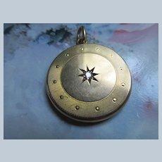 Antique 10K Diamond Star Burst Locket