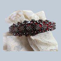 Antique Bohemian Garnet Bangle Bracelet in Silver