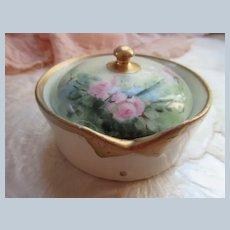 Early 1900s Limoges Stud Button Dresser Jar