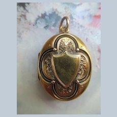 Victorian 14K Gold Shield Locket with Intricate Design Elements