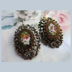 Older Vintage Mosaic Floral Gold Stone Pierced Earrings