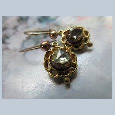 Victorian Antique Gold Rose Cut Diamond Pierced Earrings