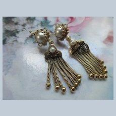 Victorian Antique 14K Cultured Pearl Tassel Earrings