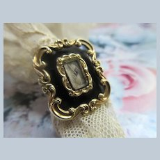 Victorian Antique  10K Hair Work Enameled Ring Dated 1847