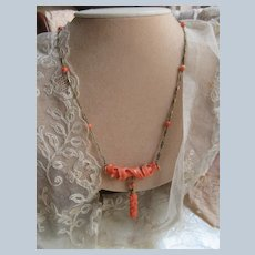 Antique circa 1920 14KT Carved Natural Coral Cherub and Roses Necklace