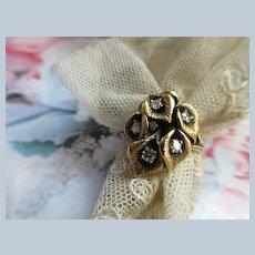 Vintage 14K Diamond Calla Lily Ring