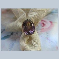 Vintage 14K Amethyst Intaglio Flower Ring