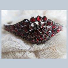 Antique Bohemian Garnet Bangle Bracelet
