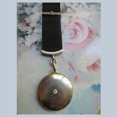 Antique Platinum over 14K Gold Diamond Locket Watch Chain