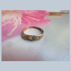 Antique Ostby and Barton 10K Baby Ring Persian Turquoise Seed Pearls