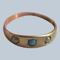 Antique Ostby and Barton 10K Baby Ring Turquoise Seed Pearls