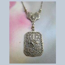 Deco Circa 1920 Filigree 10K White Gold Lavaliere Necklace