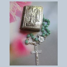 Vintage French Our Lady of Lourdes Rosary Box with Small Blue Glass Rosary