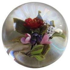 Vintage Victor Trabucco Wild Flower Bouquet Art Glass Paper Weight 2004