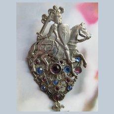 Jack Smile signed Costume Jewelry Pendant
