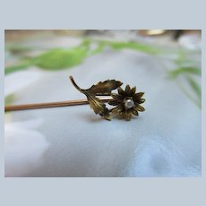 Antique 10K Flower Stick Pin with Seed Pearl Accent