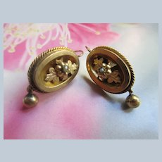 Antique Victorian Gold Fill Pierced Earrings with Seed Pearl Accents