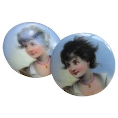 Antique Painted Porcelain Plaques on Screw Back Earring Findings