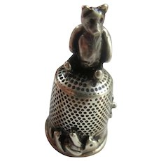 Vintage Sterling Bear Thimble