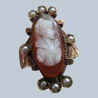 Victorian Antique Carved Cameo 14K Ring