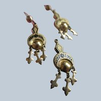 Antique Gold Fill Enameled Pierced Earrings and Pendant