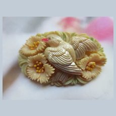 Vintage Celluloid Floral Bird Pin Japan