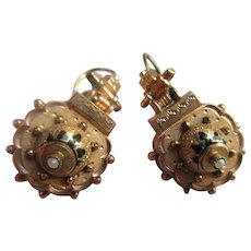 Victorian Antique Pierced Earrings in Gold Fill
