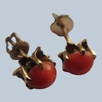 Antique Coral Stud Pierced Earrings in Gold Fill