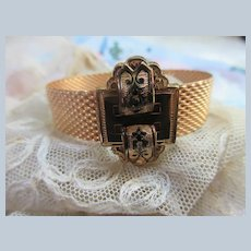 Victorian Revival Buckle Bracelet with Black Enameling