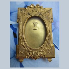 Older Vintage Small Brass Picture Frame with Floral Embellishments