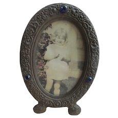Older Vintage Easel Back Jeweled Metal Frame