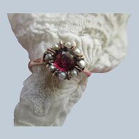 Antique Garnet Seed Pearl Ring in 10K Yellow Gold