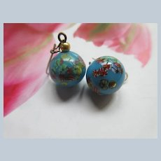 Vintage Blue Art Glass Drop Pierced Earrings