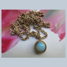 14K Blue Opal Pendant on Gold Fill Chain