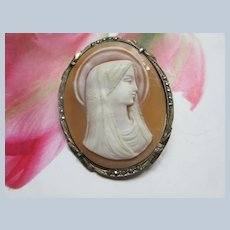 Vintage 800 Silver Carved Shell Blessed Mother Cameo Pin Pendant