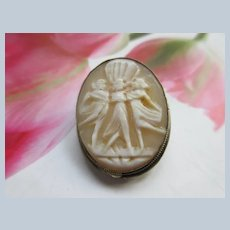 Vintage Carved Shell Cameo The Three Graces Pin Pendant in 800 Silver