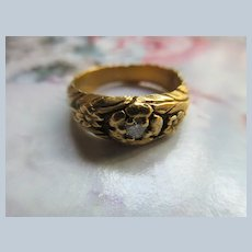 Vintage 14K Diamond Band Floral Gold Band
