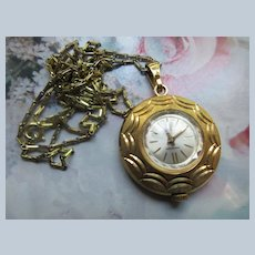 Vintage Bucherer Pendant Watch Necklace on Original Opera Length Chain
