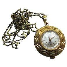 Vintage Bucherer Pendant Watch Necklace on Original Opera Length Chain