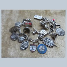 Vintage Sterling Silver Charm Bracelet Enameled and Mechanical Charms